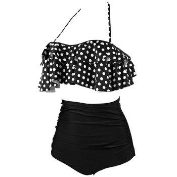 Tiered Halter High Waist Bikini Set - BLACK BLACK