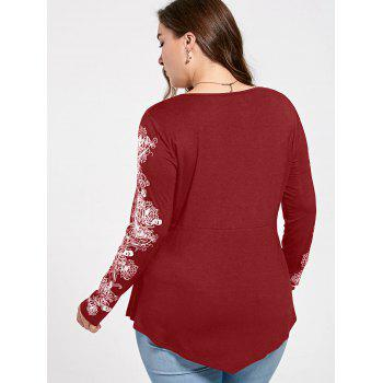 Plus Size Floral Pattern Long Sleeve Draped T-shirt - RED XL