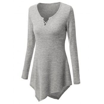 Criss Cross Longline Asymmetrical Plus Size Tee - GRAY 2XL