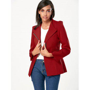 Ruched Zipper Design Tunic Blazer - WINE RED S