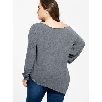 Plus Size Rose Embroidered Skew Neck T-shirt - GRAY 2XL