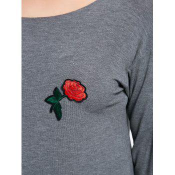 Plus Size Rose Embroidered Skew Neck T-shirt - GRAY XL