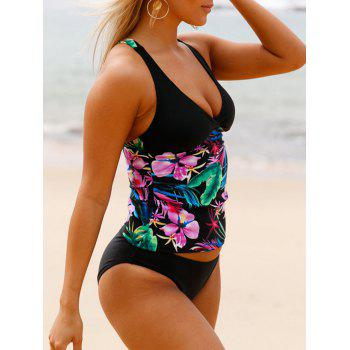 Cross Back Floral Tankini Set - BLACK BLACK