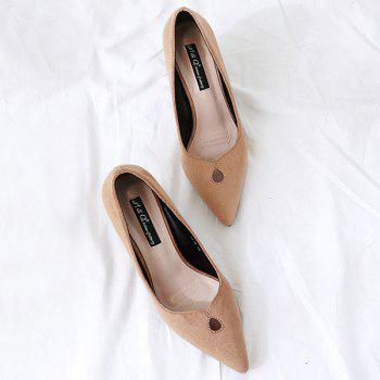 Chunky Heel Faux Suede Pumps - KHAKI 37