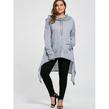 Plus Size Funnel Collar Maxi Asymmetric Hoodie - GRAY GRAY
