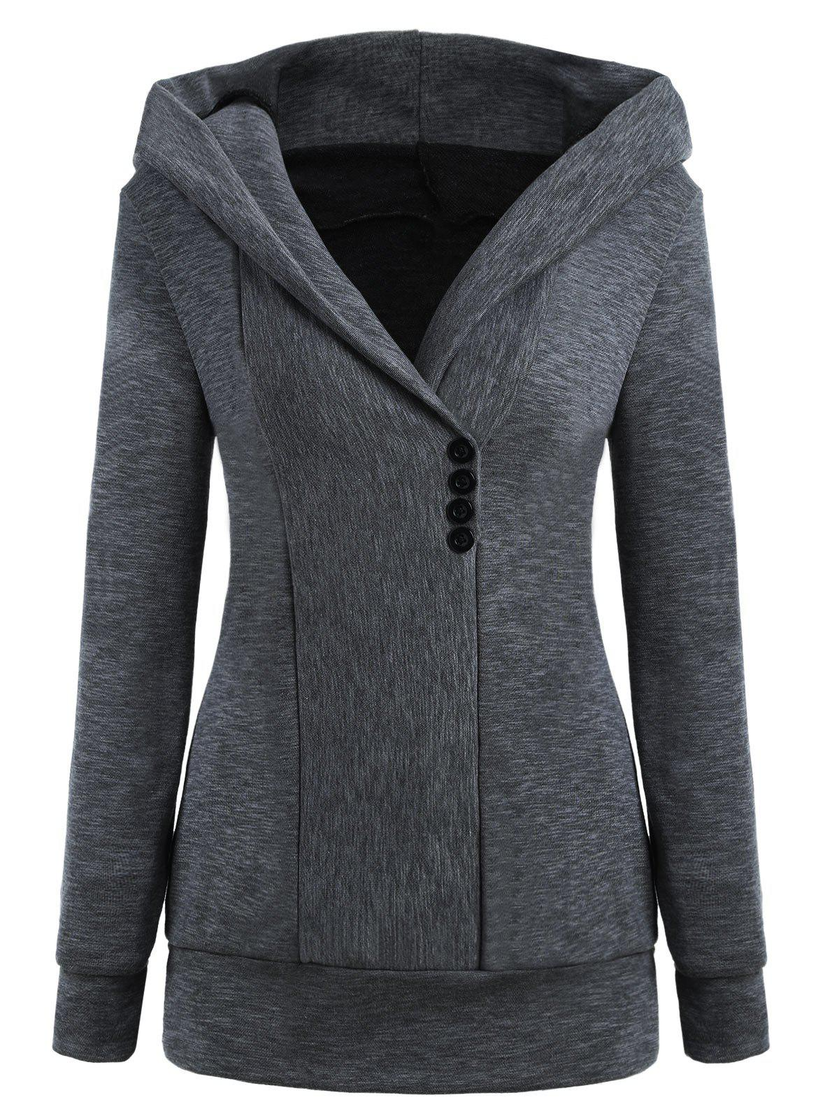Button Pullover Heathered Hoodie pullover hooded heathered sweater
