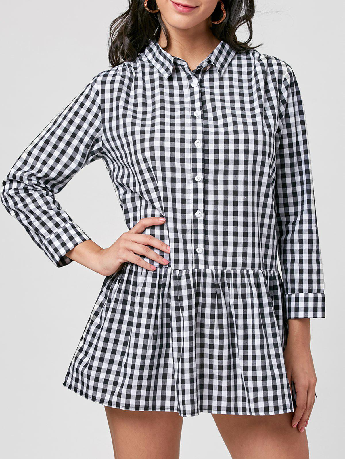 Plaid Long Sleeve Drop Waist Dress - BLACK WHITE M