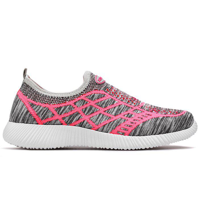 Geometric Pattern Color Block Breathable Athletic Shoes - GRAY 38