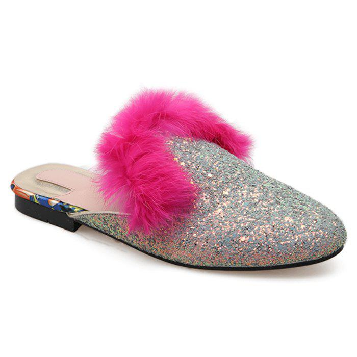 Faux Fur Sequined Mules - SILVER 38