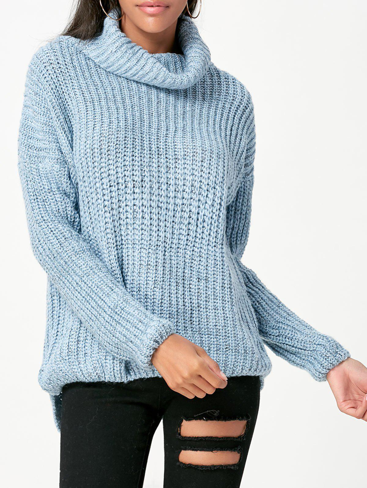 2018 Loose Fit Chunky Turtleneck Sweater BLUE ONE SIZE In Sweaters ...