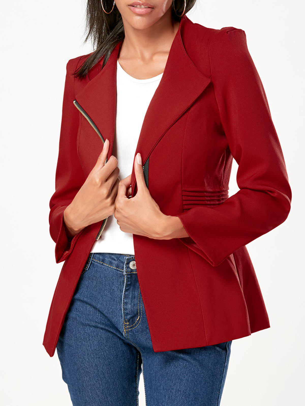 Ruched Zipper Design Tunic Blazer - WINE RED L