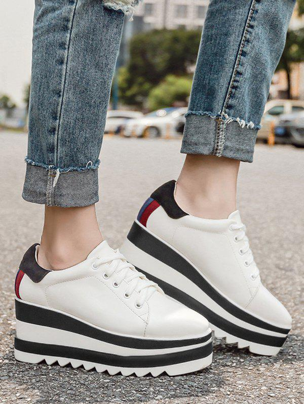 Tie Up Square Toe Wedge Shoes - WHITE 38
