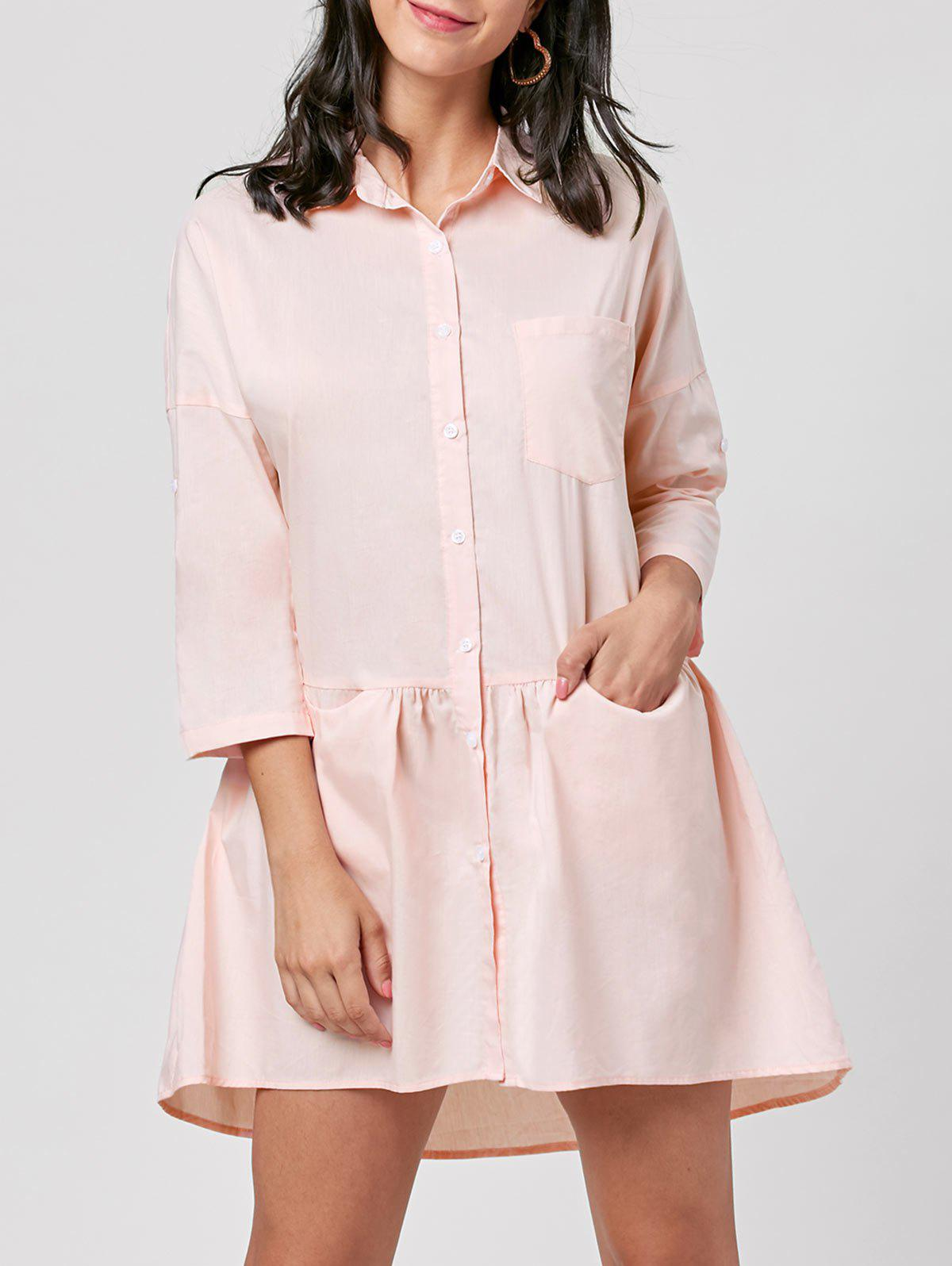 Patch Pocket Mini Shirt Dress - LIGHT PINK L