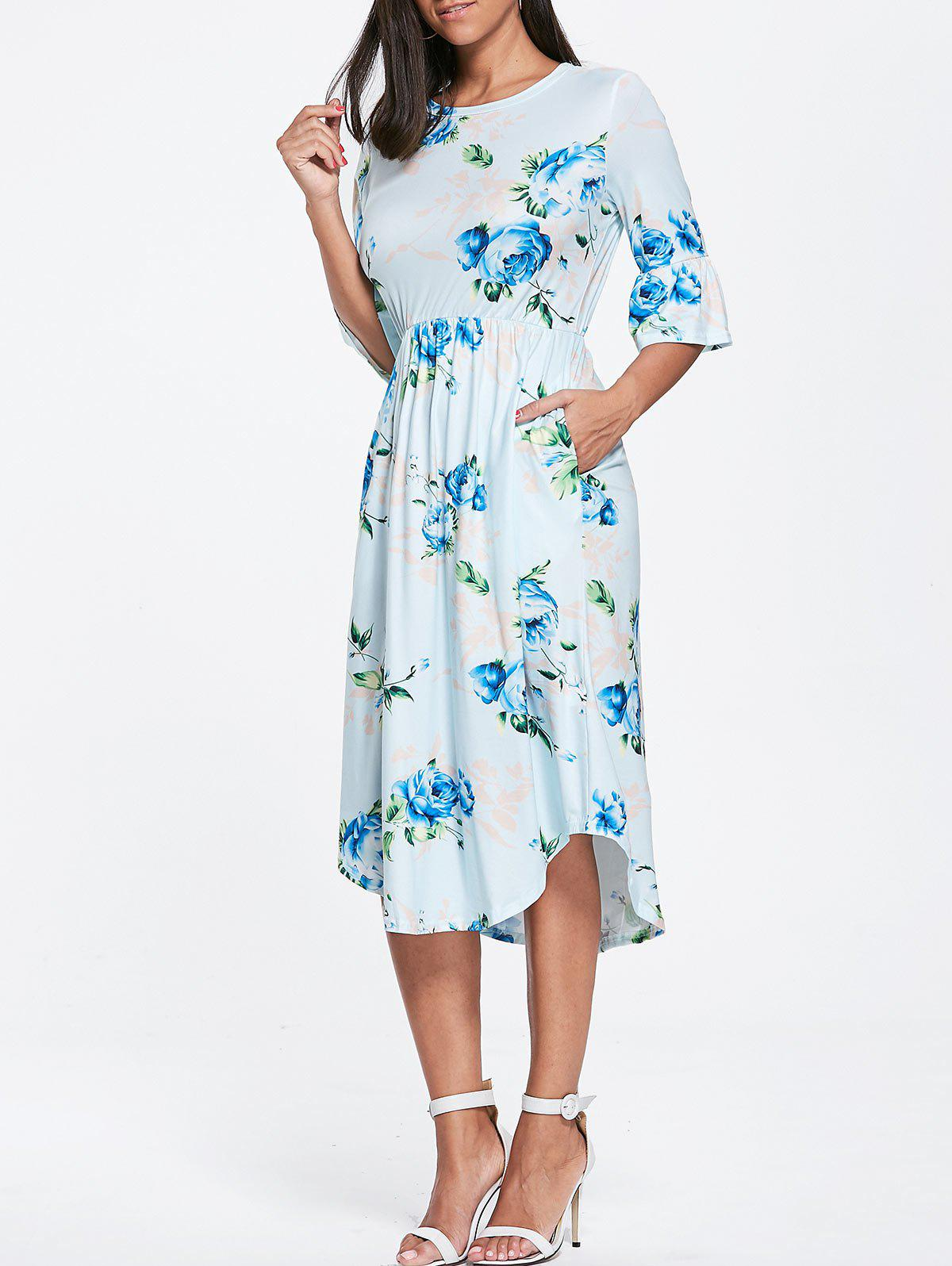 Floral Print Bell Sleeve Pocket Dress - LIGHT BLUE XL