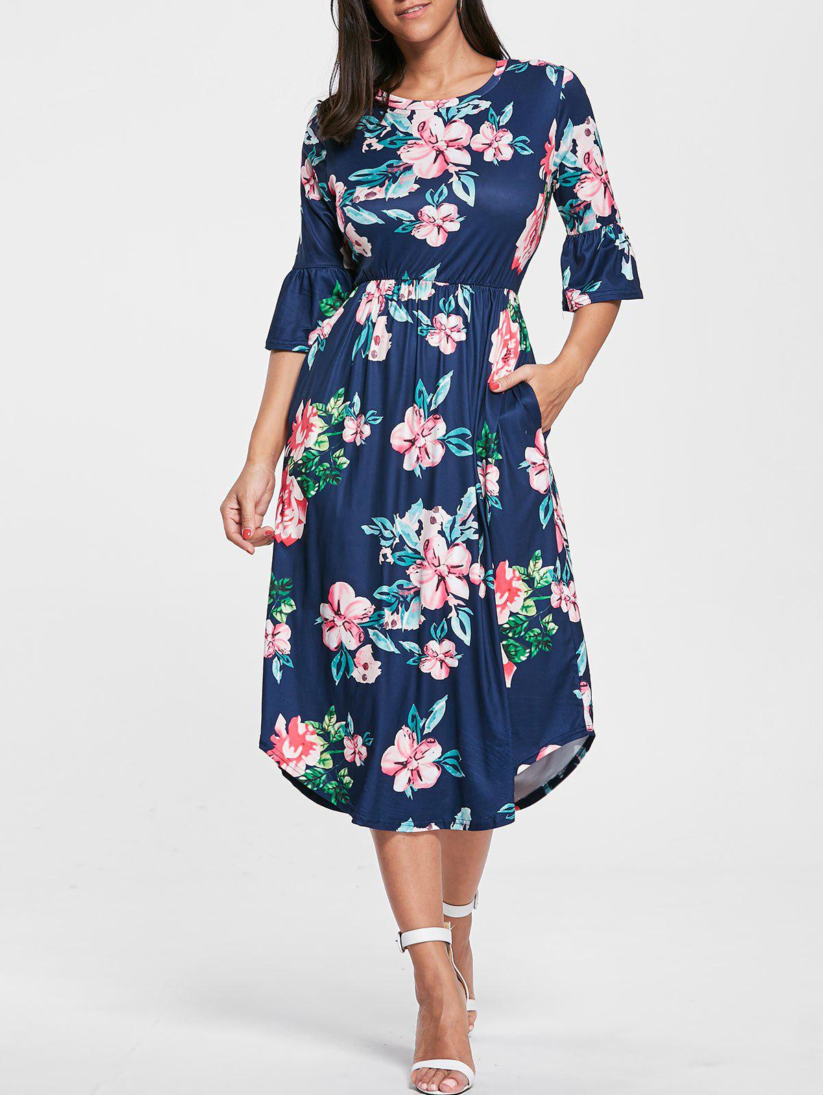 Floral Print Bell Sleeve Pocket Dress - PURPLISH BLUE M