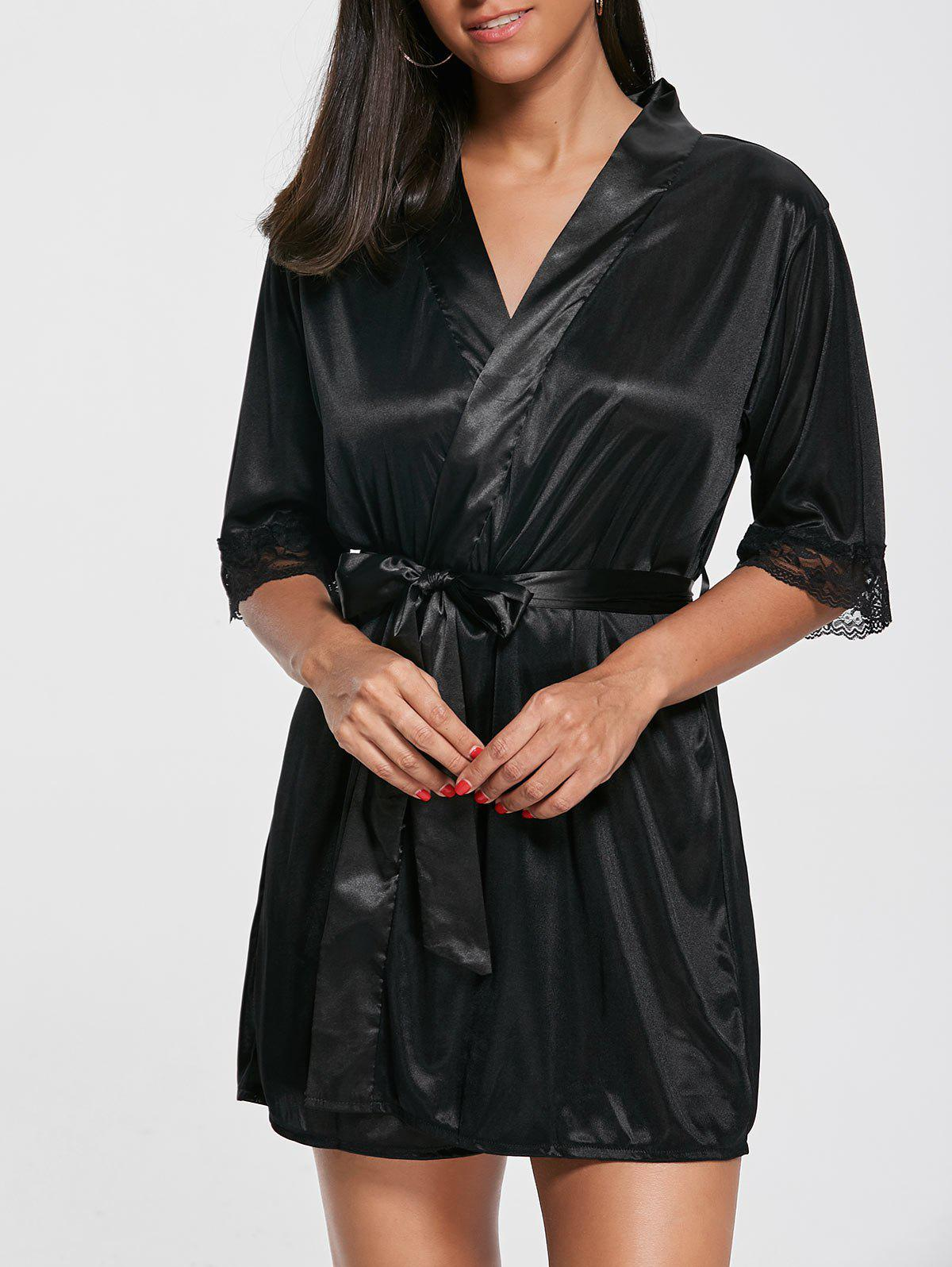 Satin Lace Trim Wrap Sleepwear with Sleeves