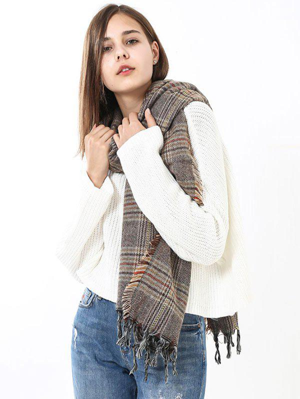Plaid Fringe Brim Long Wrap Scarf - LIGHT BROWN