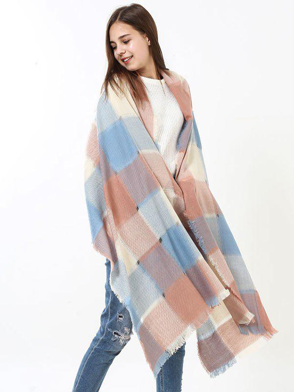 Checked Knitting Broken Hole Design Fringe Brim Scarf - BLUE/PINK