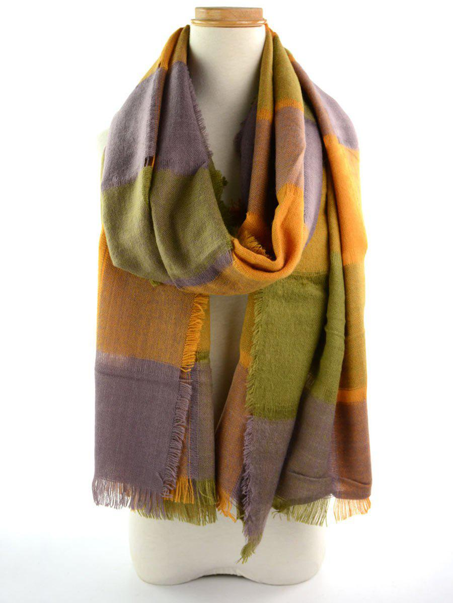 Checked Knitting Broken Hole Design Fringe Brim Scarf - GREY/ORANGE
