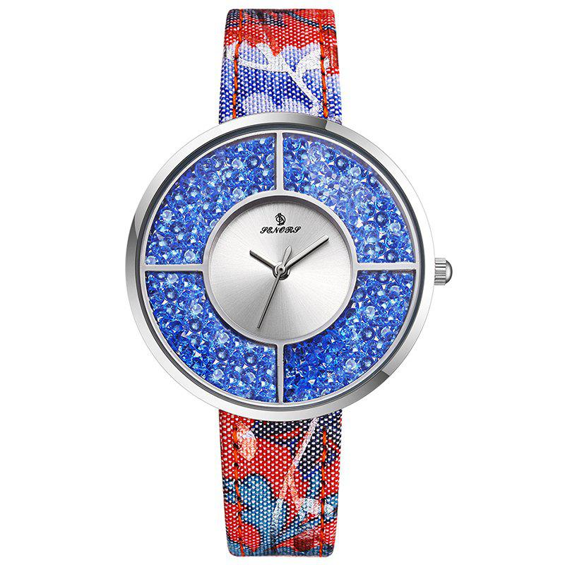 Floral Faux Leather Strap Rhinestone Watch - BLUE