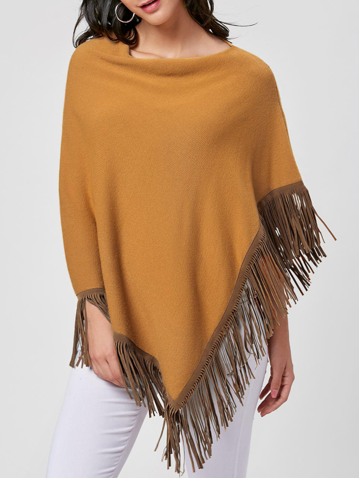Cowl Neck Fringe Poncho - YELLOW ONE SIZE