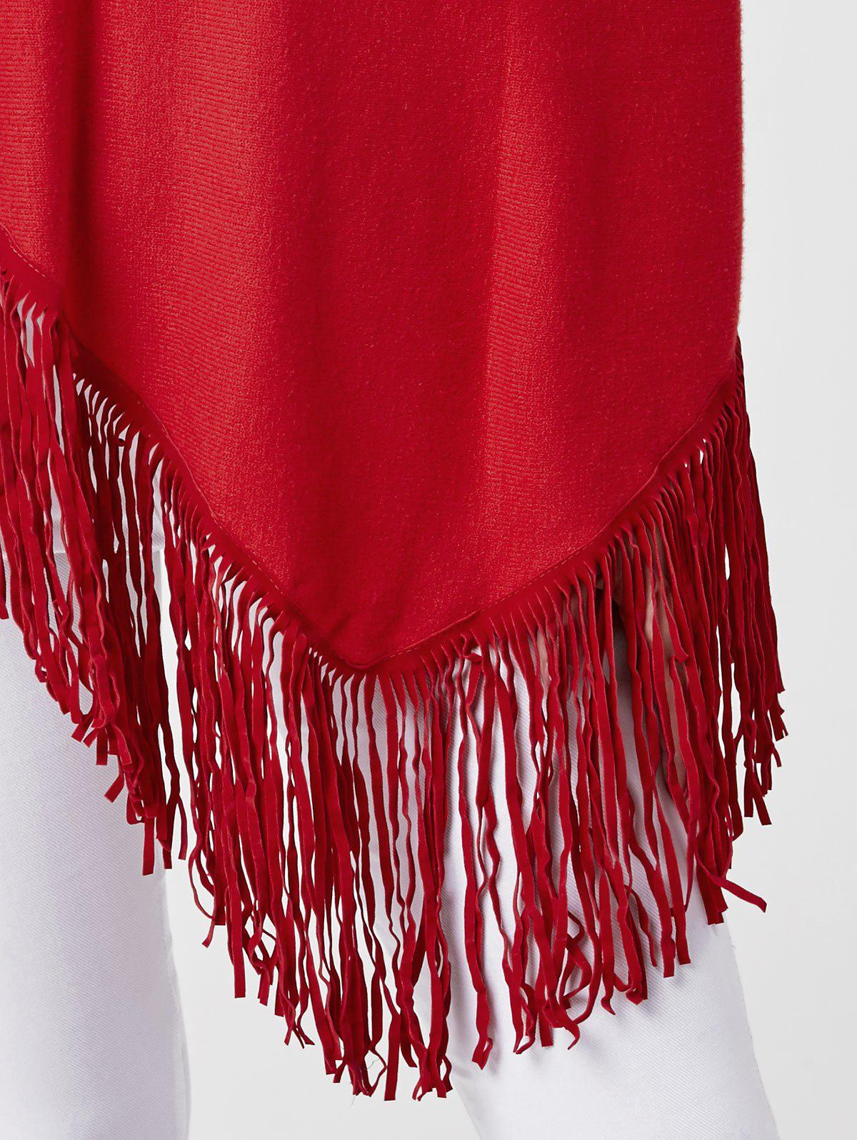 Cowl Neck Fringe Poncho - WINE RED ONE SIZE