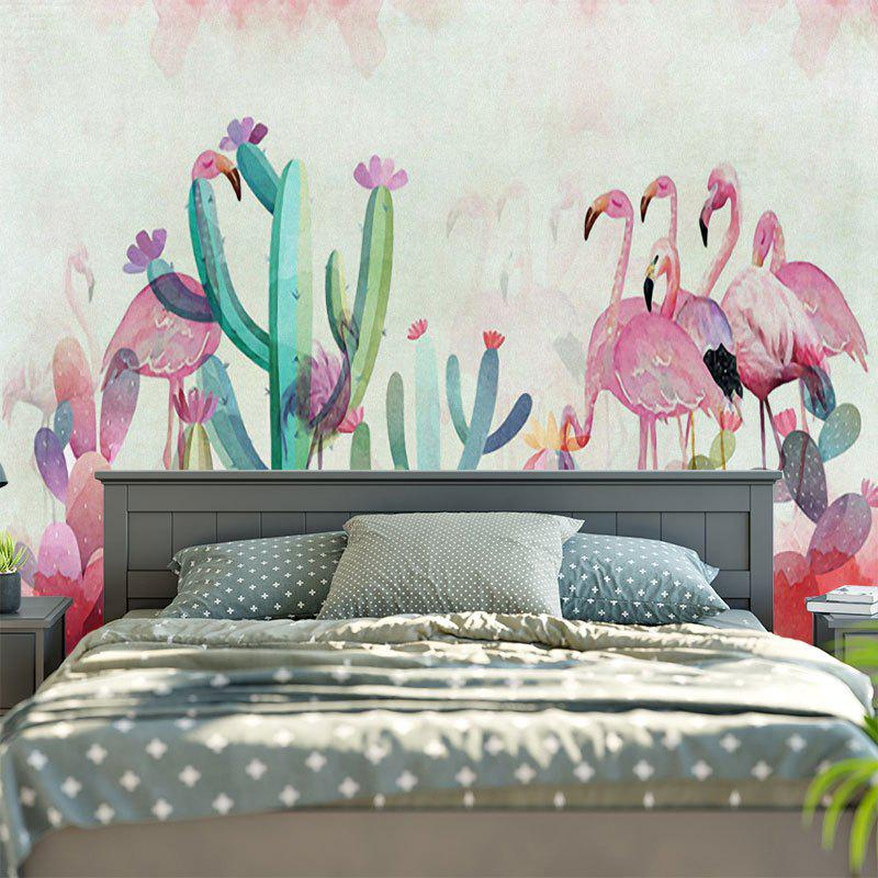 2018 tapisserie murale imprim cactus et flamants roses rose p le largeur pouces longeur pouces. Black Bedroom Furniture Sets. Home Design Ideas