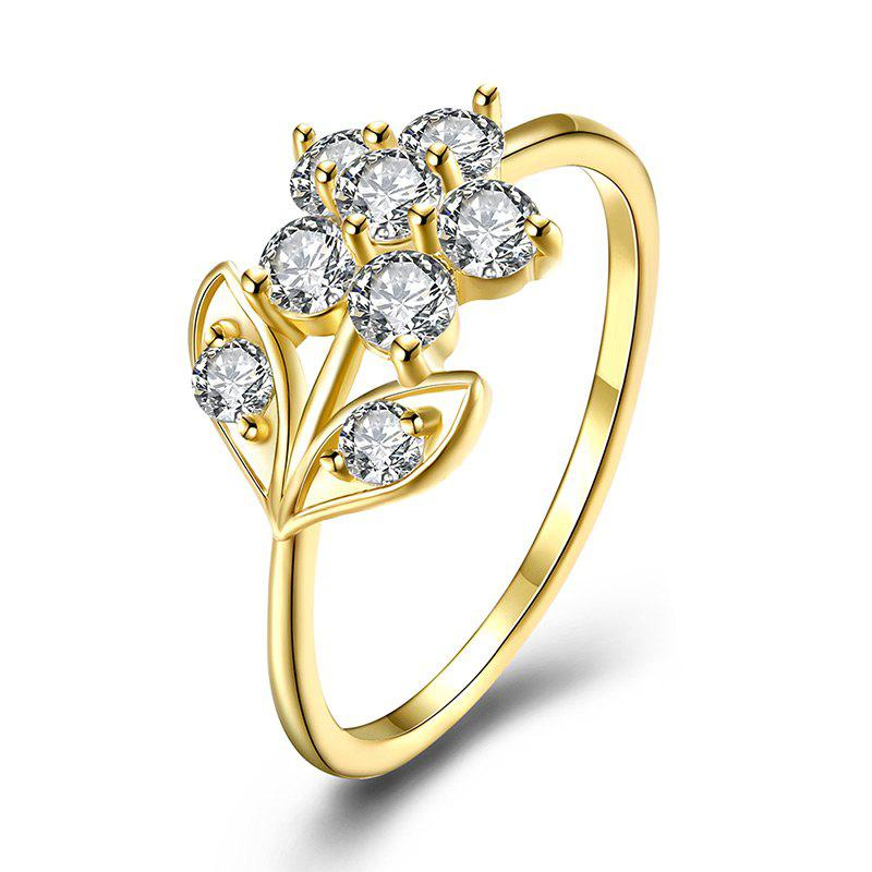 Rhinestoned Flower Leaf Finger Ring - GOLDEN 8