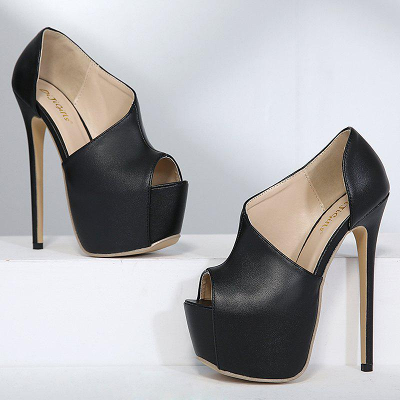 Platform High Heel Peep Toe Shoes - BLACK 37