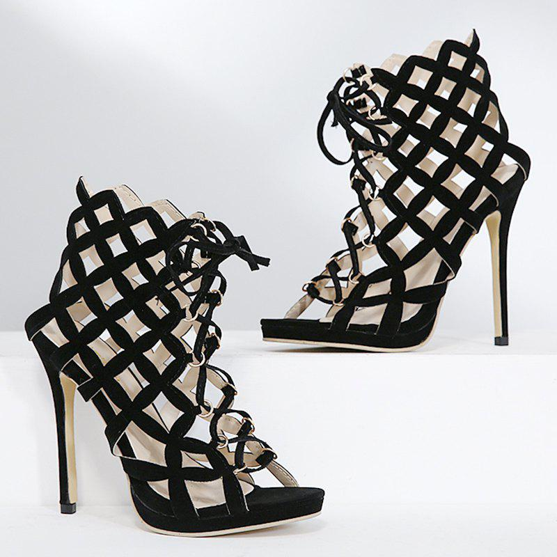 Gladiator High Heel Caged Sandals - BLACK 37