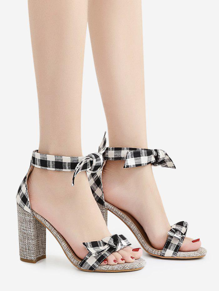 Bowknot Plaid Pattern Sandals - BLACK 37