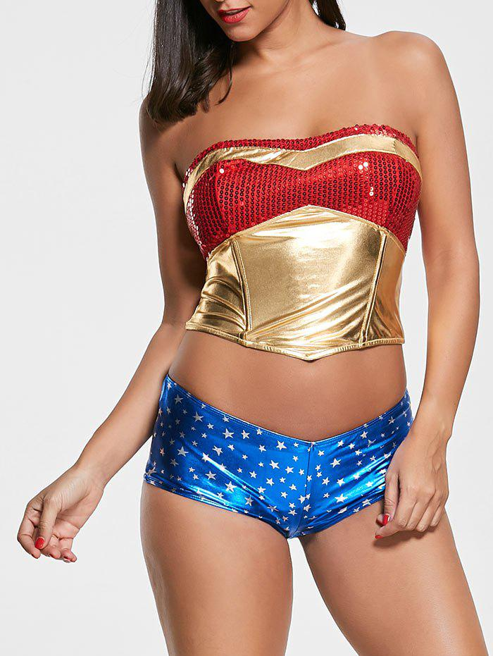 Sequined Women Hero Costume d'Halloween - multicolore M