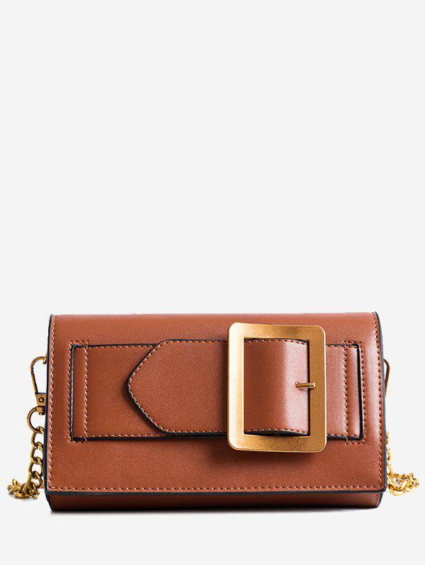Chain Buckle Strap Crossbody Bag - BROWN