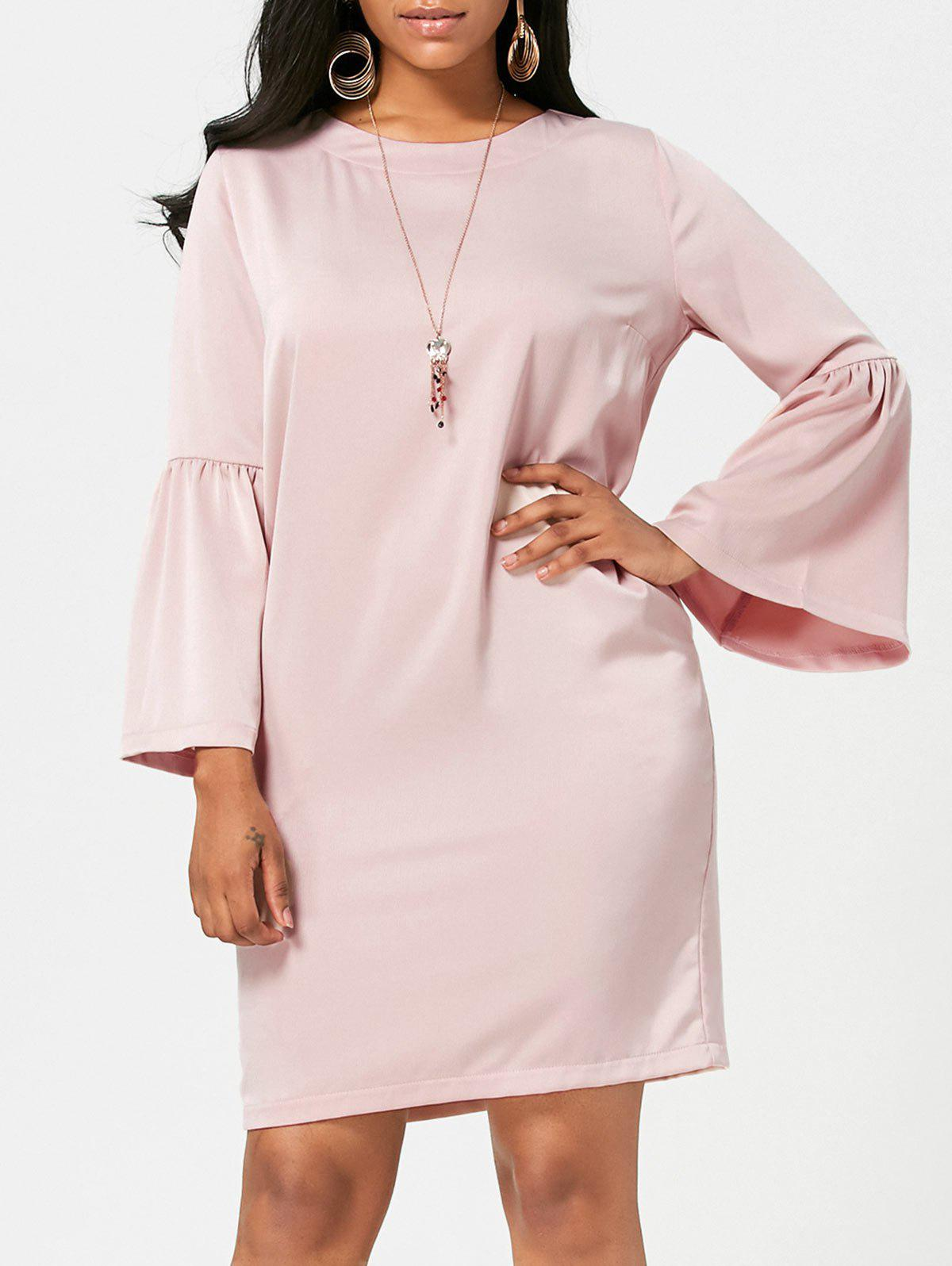 Bell Bottom Sleeve Straight Dress Shallow Pink Xl In