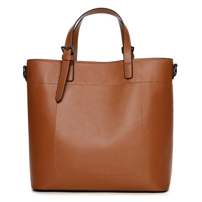 Stitching Faux Leather Tote Bag - BROWN