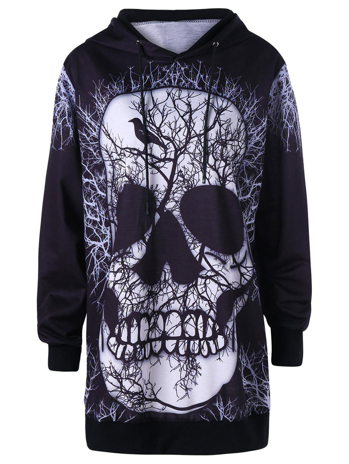 Drawstring Skull Print Tunic Halloween Pullover Hoodie
