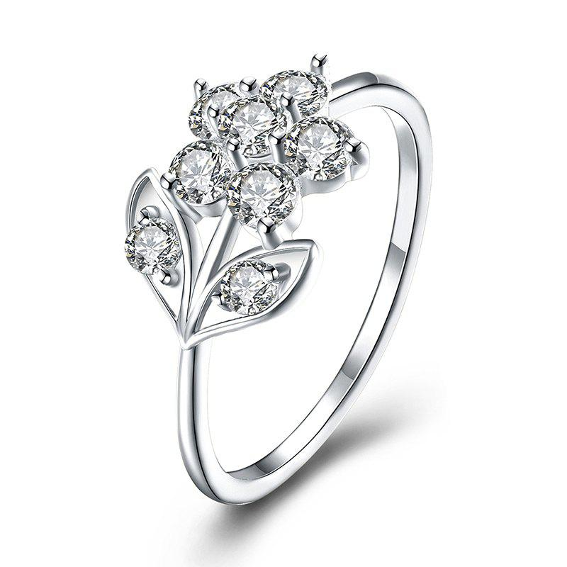 Rhinestoned Flower Leaf Finger Ring - SILVER 8
