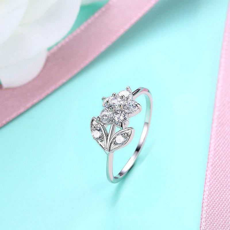Rhinestoned Flower Leaf Finger Ring - SILVER 9