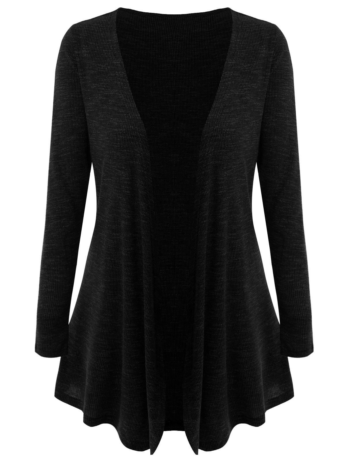 Plus Size Open Front Draped Cardigan, BLACK, XL in Plus Size ...