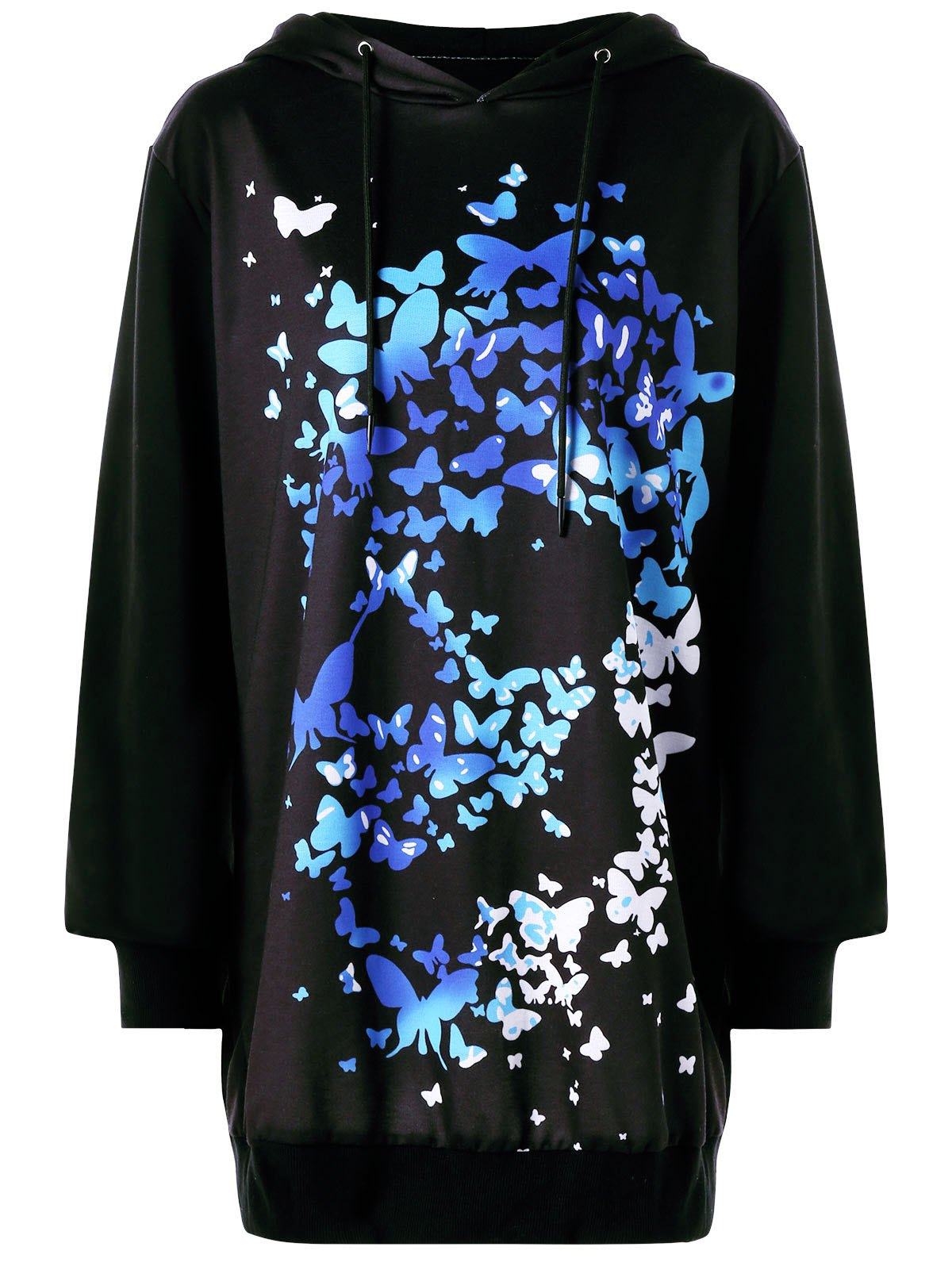 Drawstring 3D Butterfly Print Tunic Halloween Hoodie halloween lace up tunic hoodie