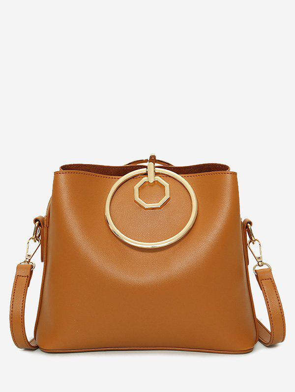 Metal Ring PU Leather Tote Bag - BROWN