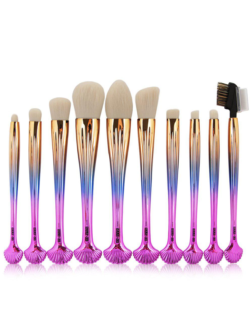 10Pcs Multifunction Gradient Color Shell Design Brushes Set - GRADUAL PINK