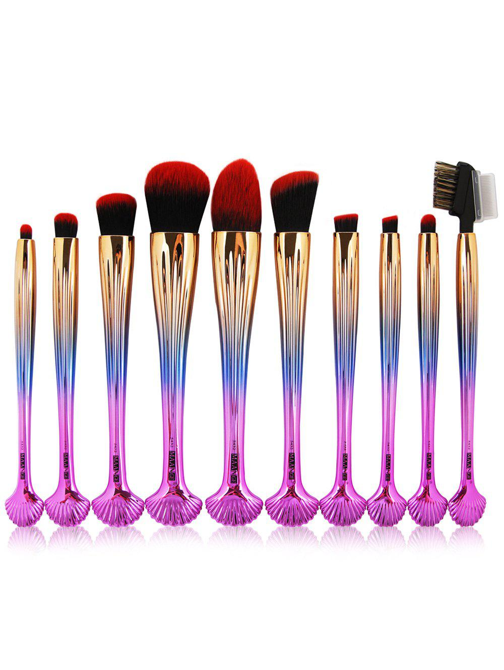 10Pcs Multifunction Gradient Color Shell Design Brushes Set - DARK PINK OMBRE