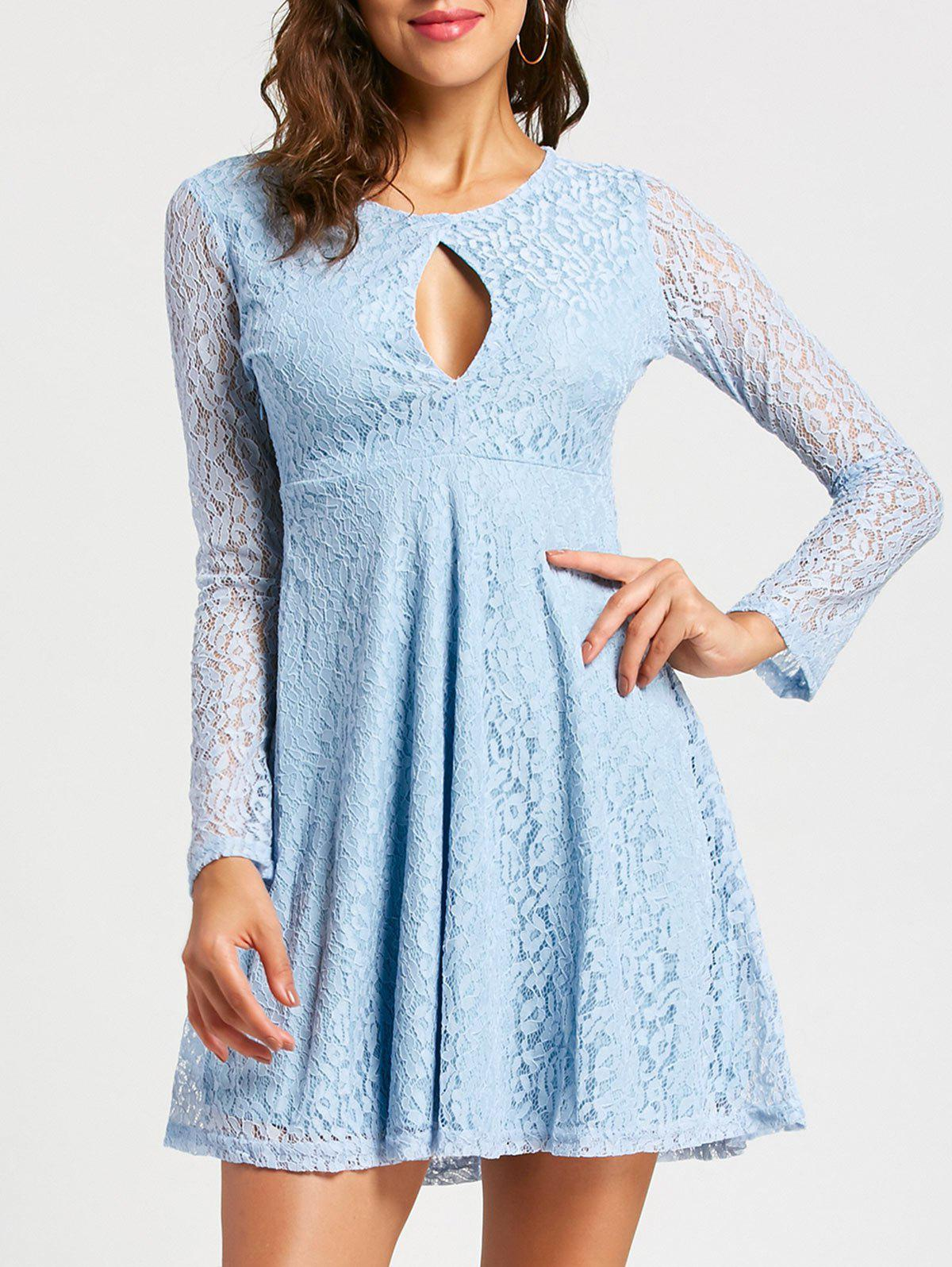 Long Sleeve Keyhole Empire Waist Lace Dress - LIGHT BLUE L