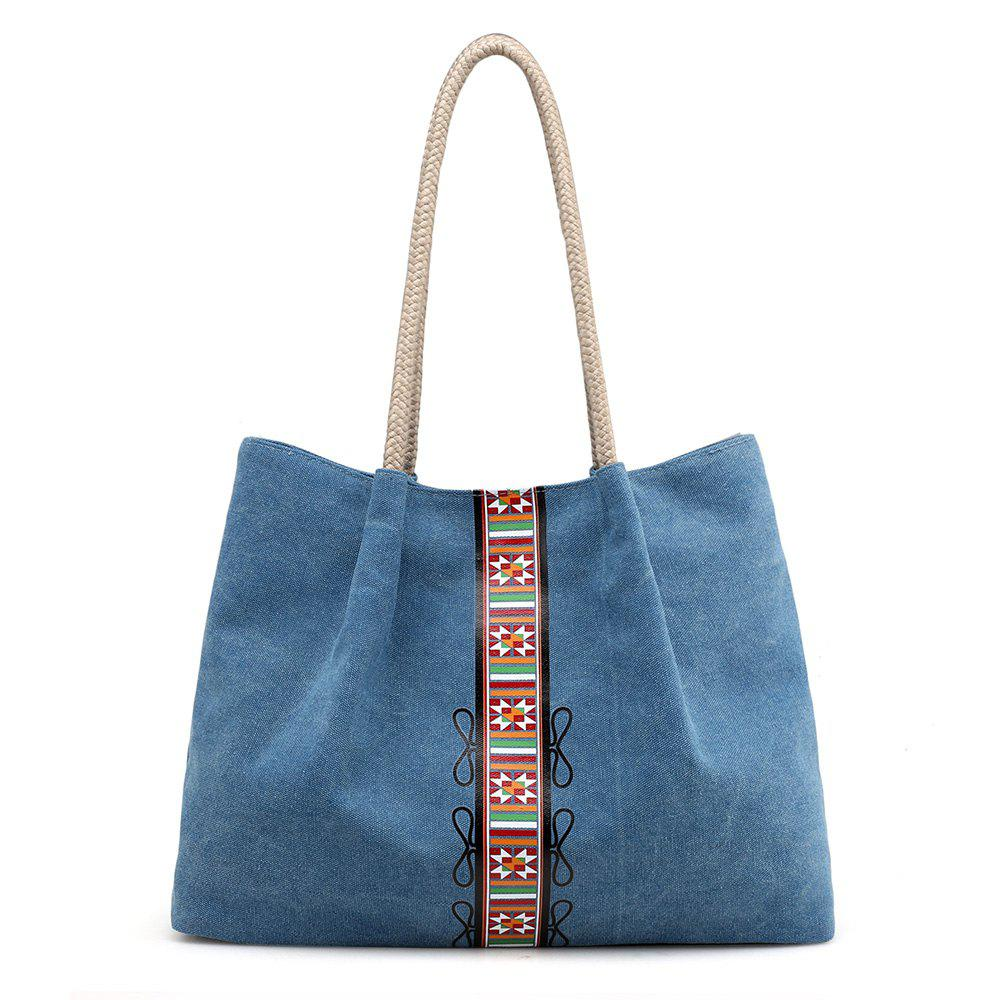 Canvas Geometric Pattern Shoulder Bag - BLUE