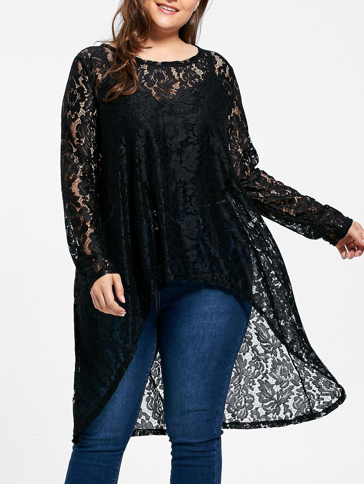 Sheer Plus  Size High Low Flower Lace Blouse plus size printed sheer lace blouse with cami top