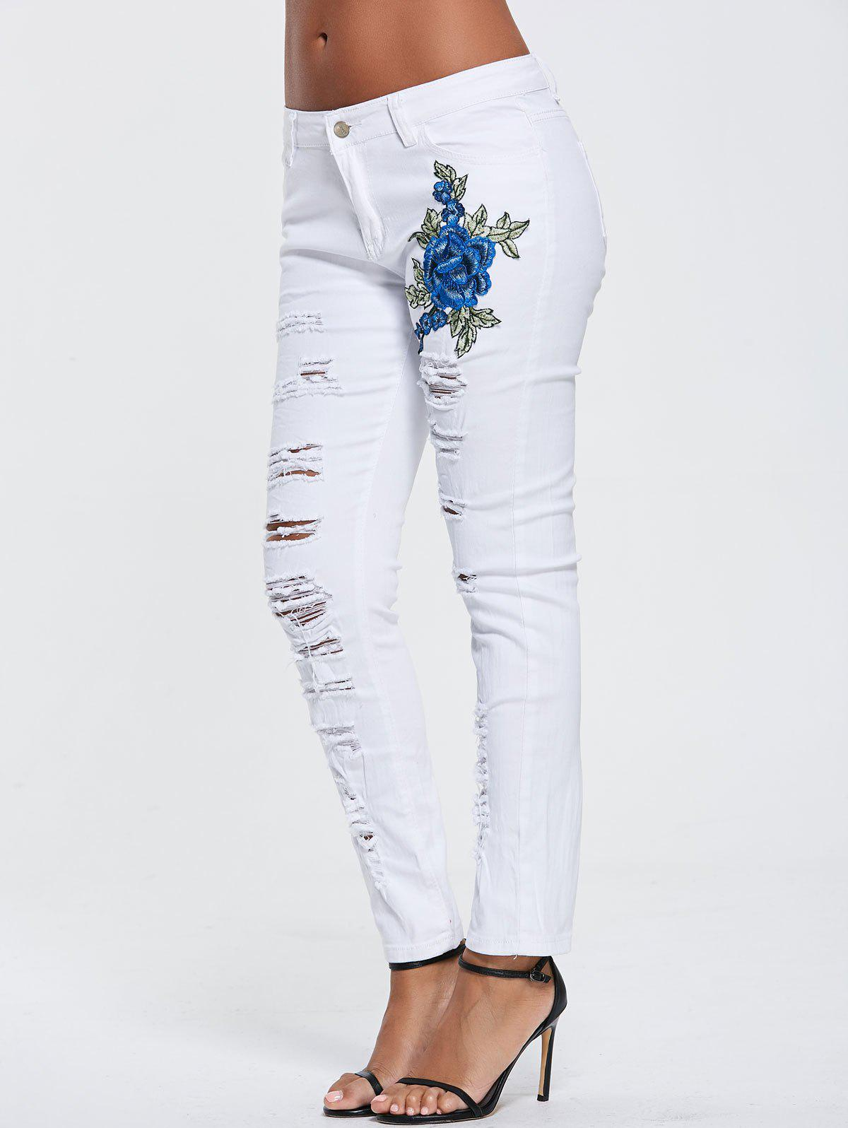 High Waisted Floral Embroidered Skinny Ripped Jeans - WHITE L