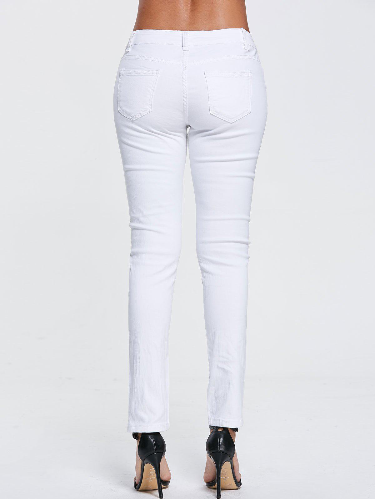 High Waisted Floral Embroidered Skinny Ripped Jeans - WHITE XL