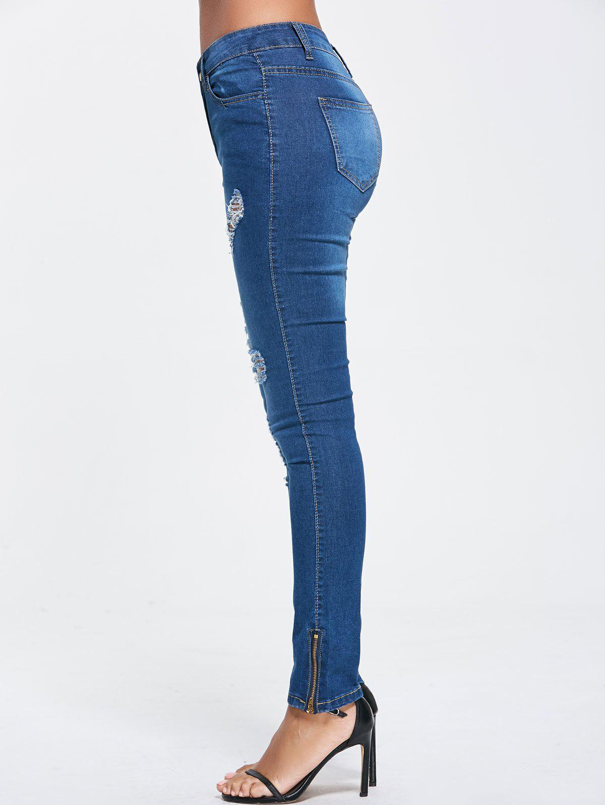 Skinny High Waist  Ripped Jeans - BLUE XL