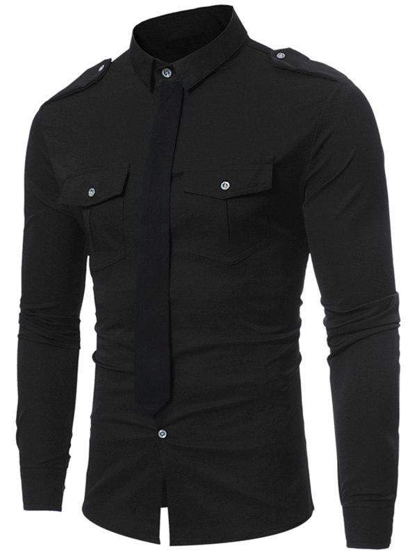 Epaulet Design Faux Tie Double Pocket Shirt - BLACK S